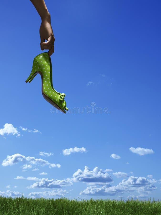 зеленые ботинки стоковое фото rf
