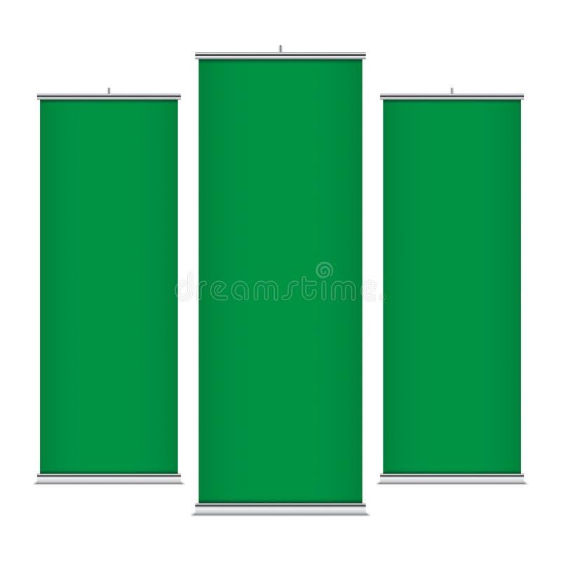 Зеленые вертикальные шаблоны знамени иллюстрация штока