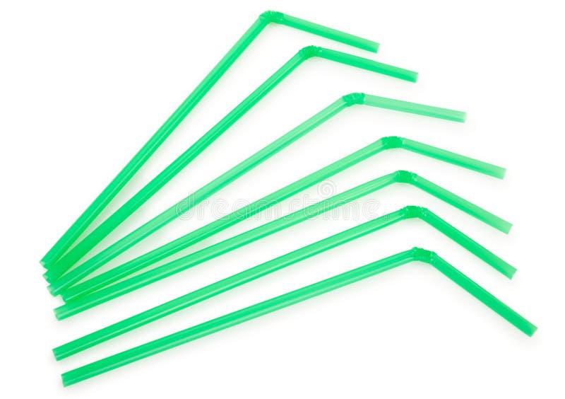 Зеленые выпивая соломы стоковые изображения