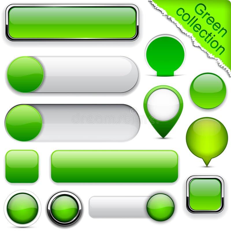 Зеленые высок-детальные самомоднейшие кнопки. иллюстрация вектора