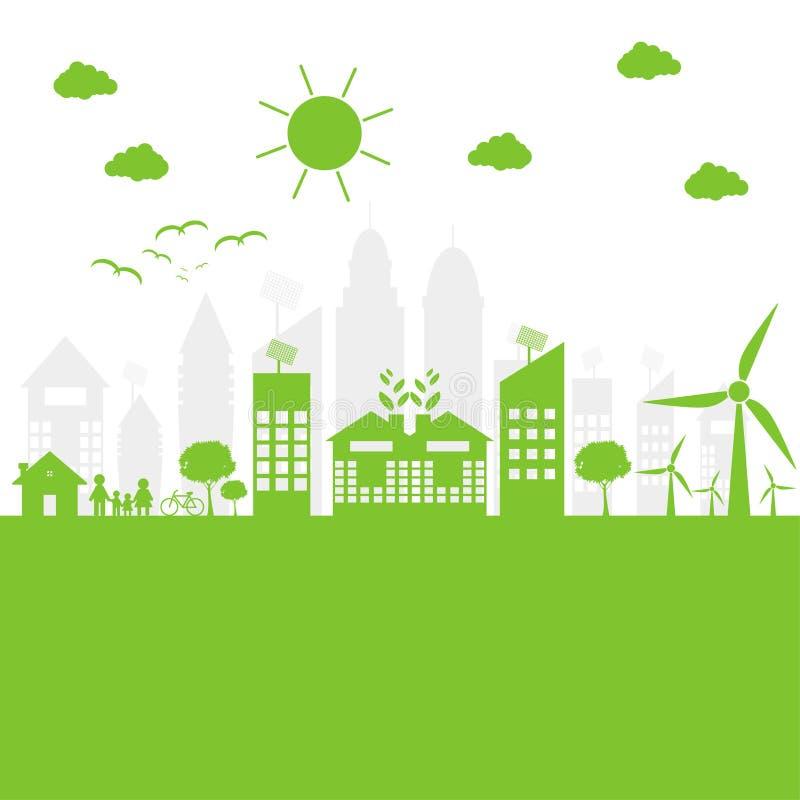 Зеленые города помогают миру с дружественными к эко идеями концепции иллюстрация бесплатная иллюстрация