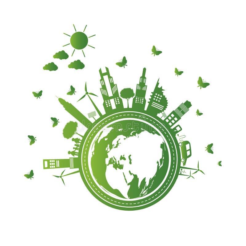 Зеленые города помогают миру с облаком с дружественными к эко идеями концепции также вектор иллюстрации притяжки corel иллюстрация штока