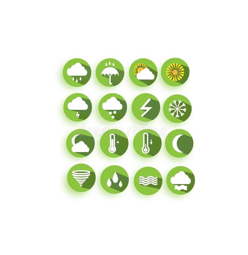 Зеленые значки погоды вектора для пользы вебсайтов интернета иллюстрация штока