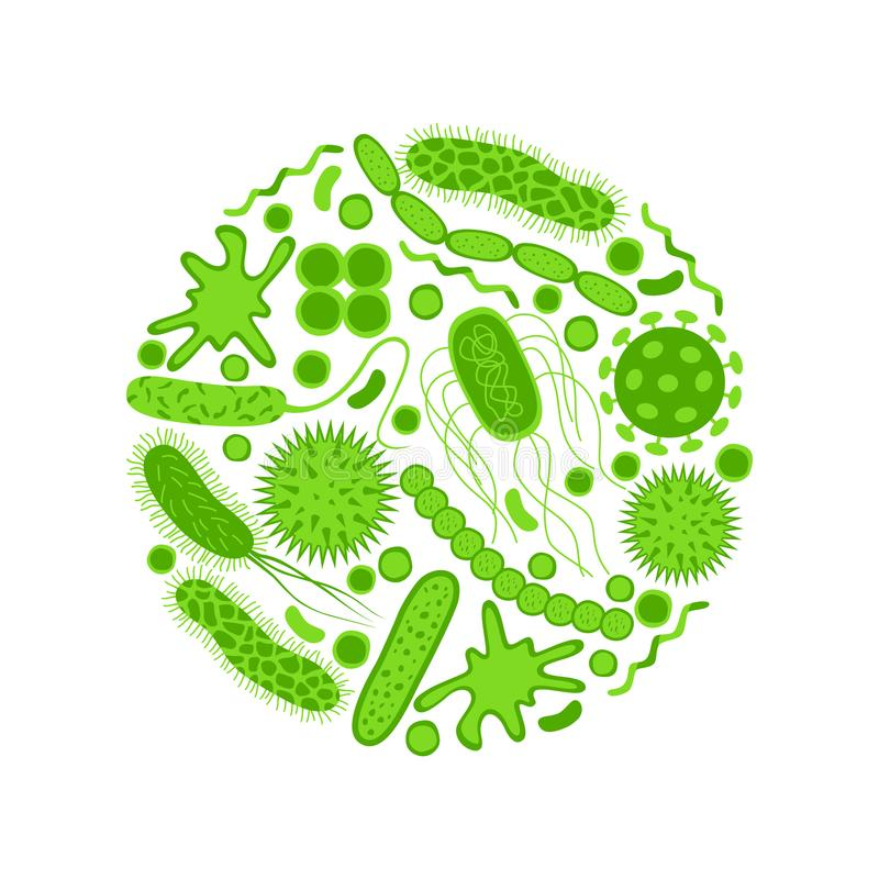 Зеленые значки семенозачатков и бактерий установили изолированный на белой предпосылке бесплатная иллюстрация