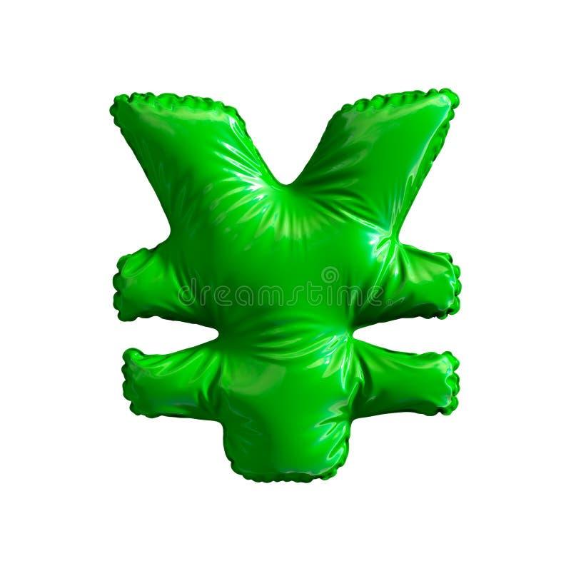 Зеленые иены символа сделанные из раздувного изолированного воздушного шара на белой предпосылке бесплатная иллюстрация
