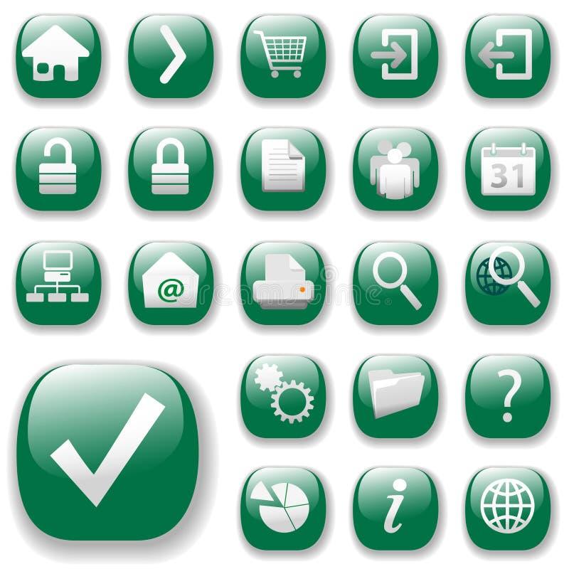 зеленые иконы установили сеть иллюстрация вектора