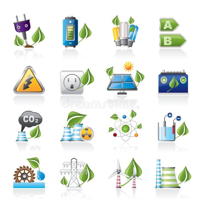 Зеленые иконы энергии и окружающей среды иллюстрация штока