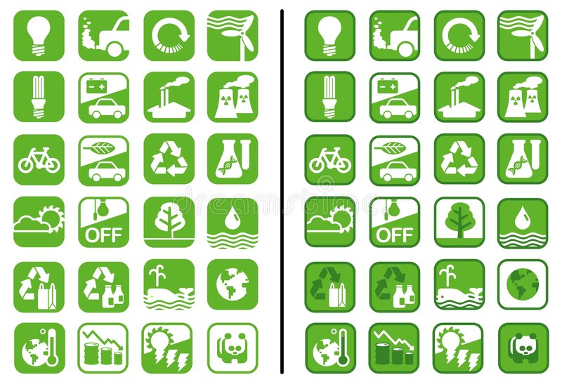 зеленые иконы стоковые изображения rf