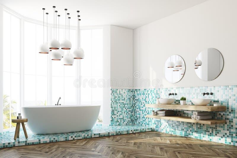 Зеленые интерьер ванной комнаты, ушат и раковина, сторона иллюстрация штока