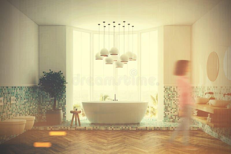 Зеленые интерьер ванной комнаты, ушат и туалеты, девушка иллюстрация штока