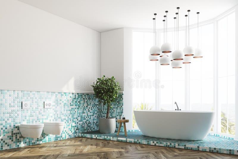 Зеленые интерьер, ушат и туалеты ванной комнаты встают на сторону бесплатная иллюстрация