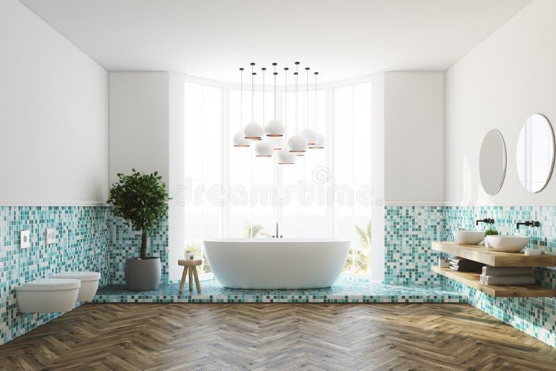 Зеленые интерьер, ушат и туалеты ванной комнаты бесплатная иллюстрация