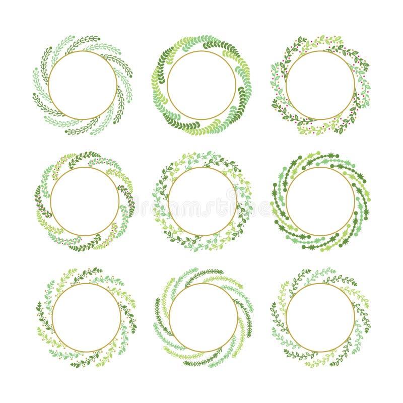 Зеленые и золотые переплетенные элементы установленного дизайна венков рождества листьев на белой предпосылке иллюстрация штока