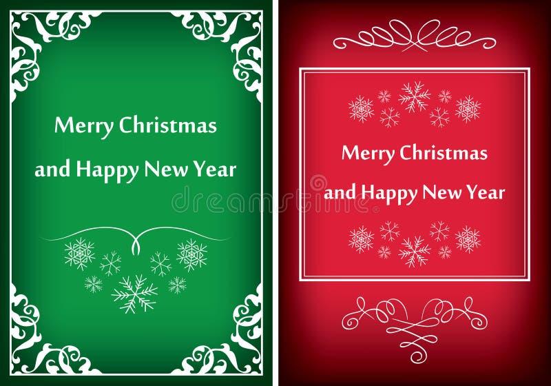 Зеленые и красные поздравительные открытки для рождества - vector рамки иллюстрация штока