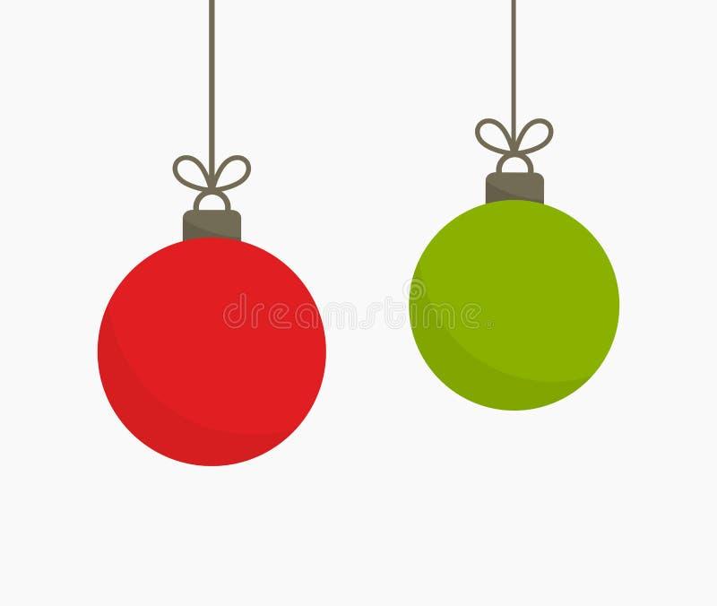 Зеленые и красные шарики рождества вися орнаменты иллюстрация штока