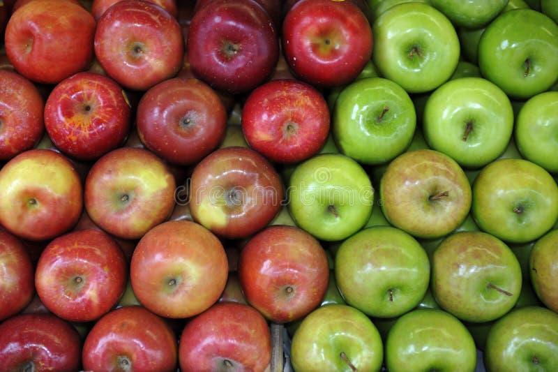 Зеленые и красные яблоки стоковое фото