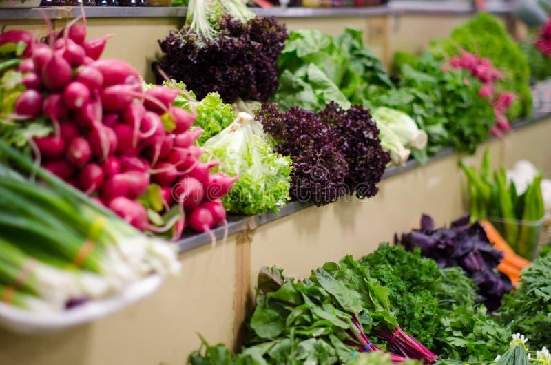 Зеленые и свежие зеленые цвета на счетчике рынка Разные виды растительности стоковое изображение rf