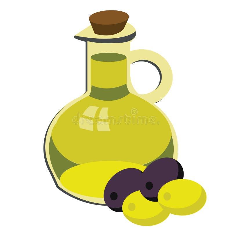 Зеленые и черные оливки и оливковое масло иллюстрация вектора