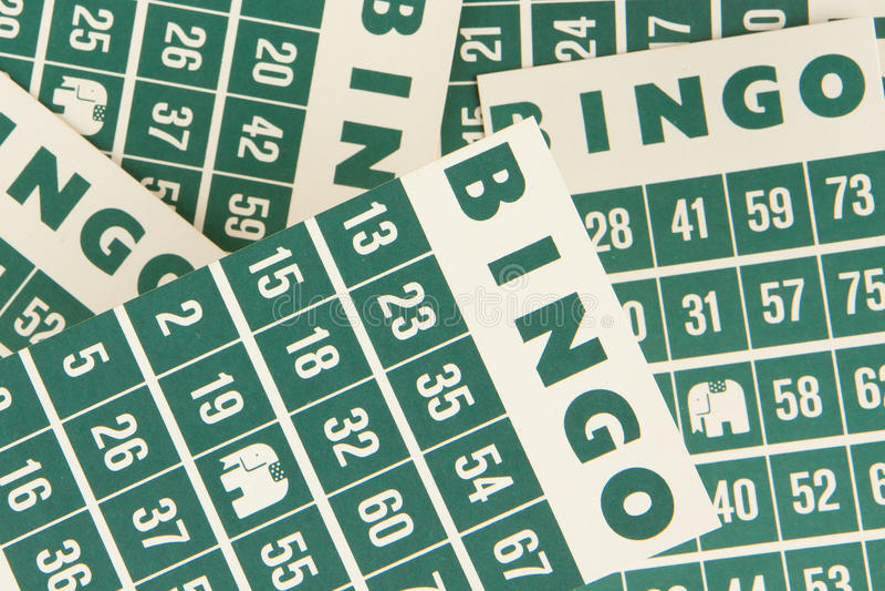Зеленые карточки bingo   стоковые изображения