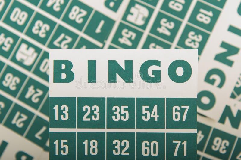 Зеленые карточки bingo   стоковые фотографии rf