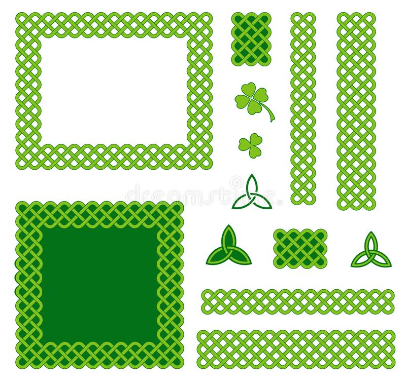 Зеленые кельтские элементы дизайна стиля иллюстрация штока