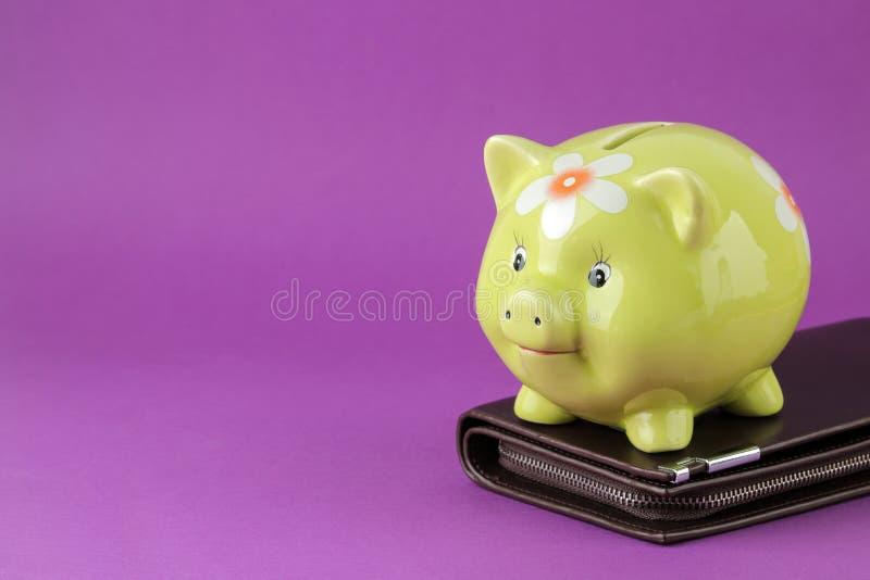 Зеленые копилка и портмоне свиньи на яркой пурпурной предпосылке Финансы, сбережения, деньги E стоковые фото