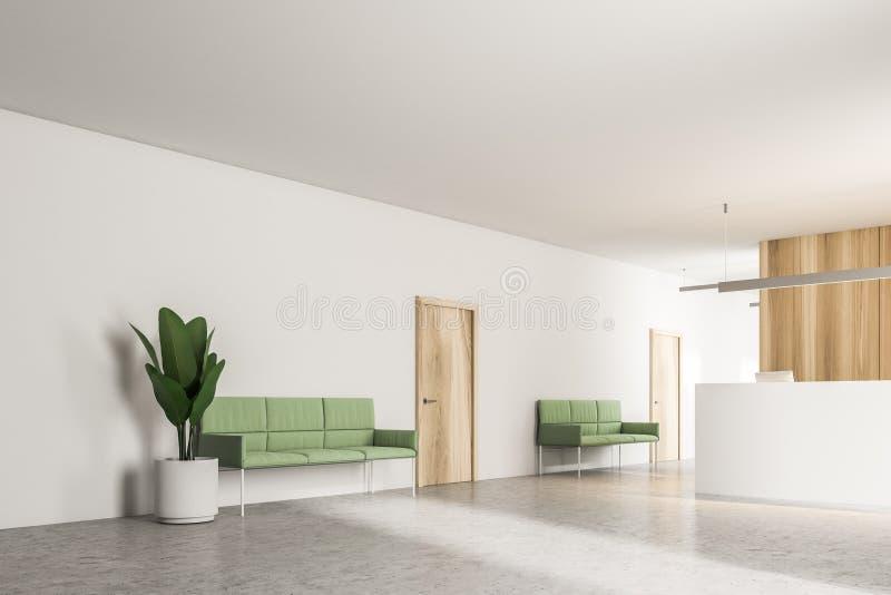Зеленые кресла в приемной офиса иллюстрация вектора