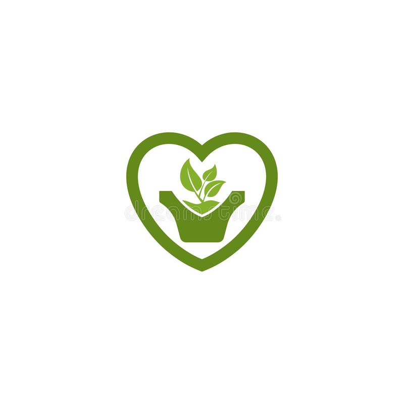 Зеленые лист в логотипе бака завода формы любов бесплатная иллюстрация