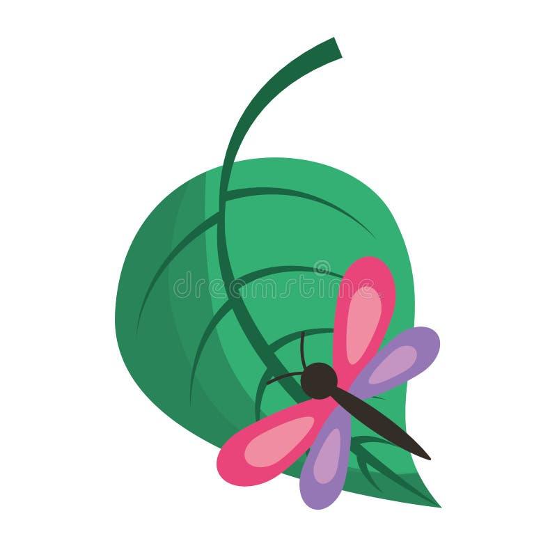 Зеленые лист с природой бабочки иллюстрация вектора