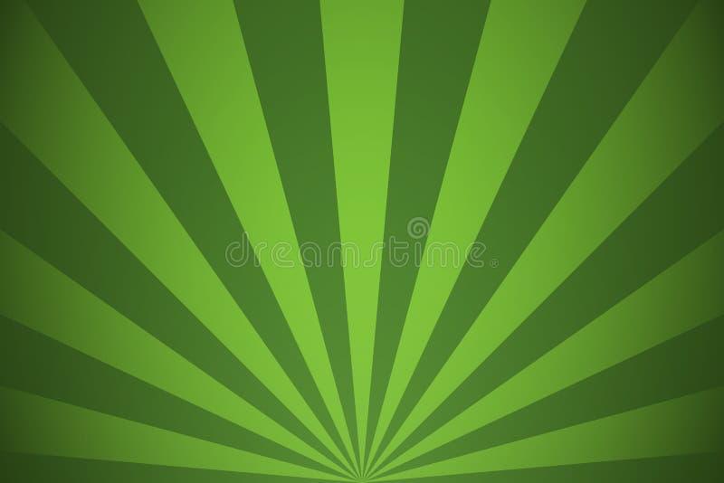Зеленые лучи и линии предпосылка лучей абстрактные радиальные иллюстрация вектора