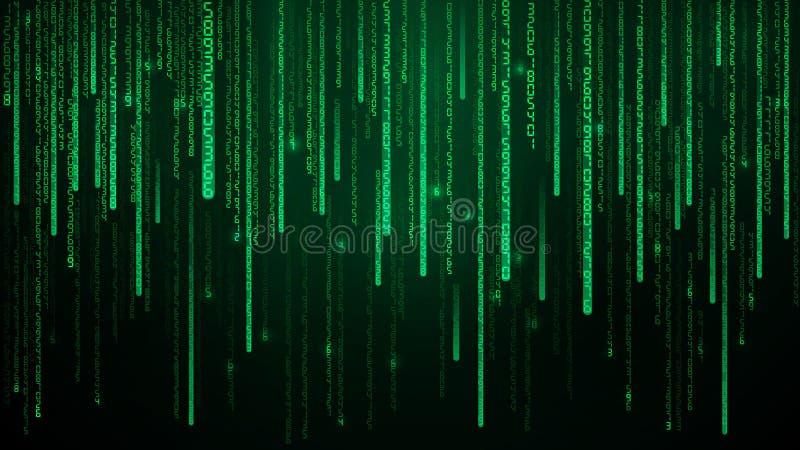 Зеленые номера матрицы Виртуальное пространство с зелеными падая цифровыми линиями Абстрактная иллюстрация вектора предпосылки иллюстрация вектора