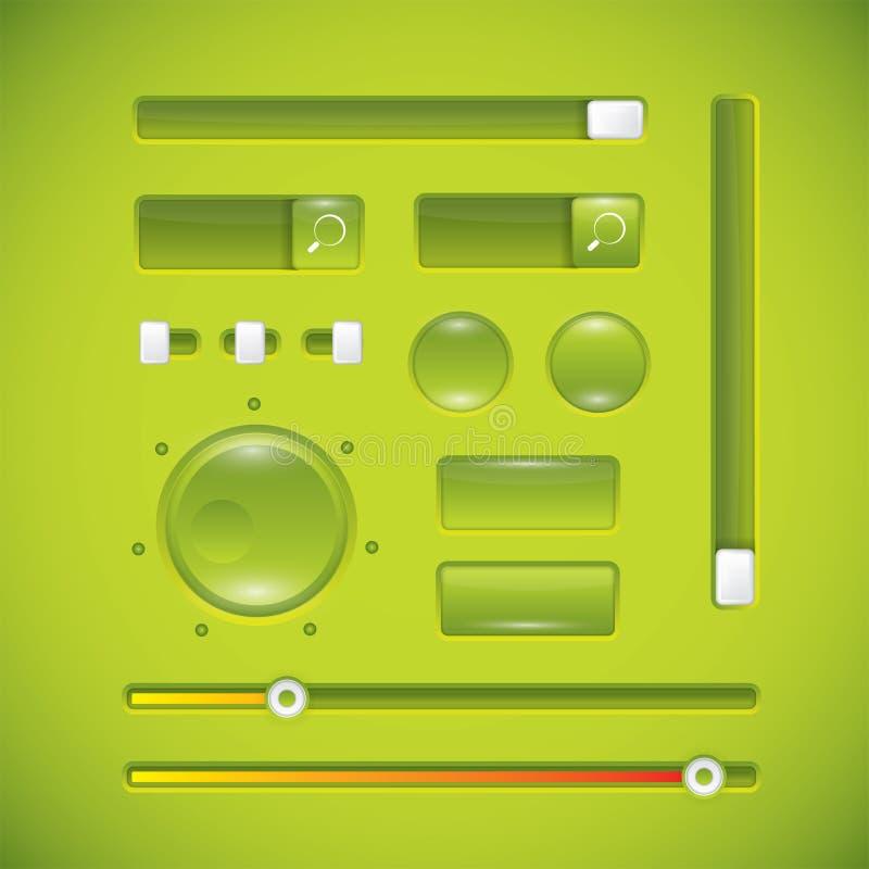 Зеленые пользовательский интерфейс, кнопки и ручки иллюстрация штока