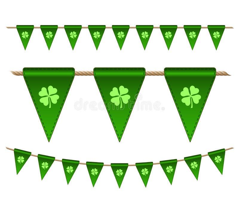 Зеленые праздничные флаги с клеверами бесплатная иллюстрация