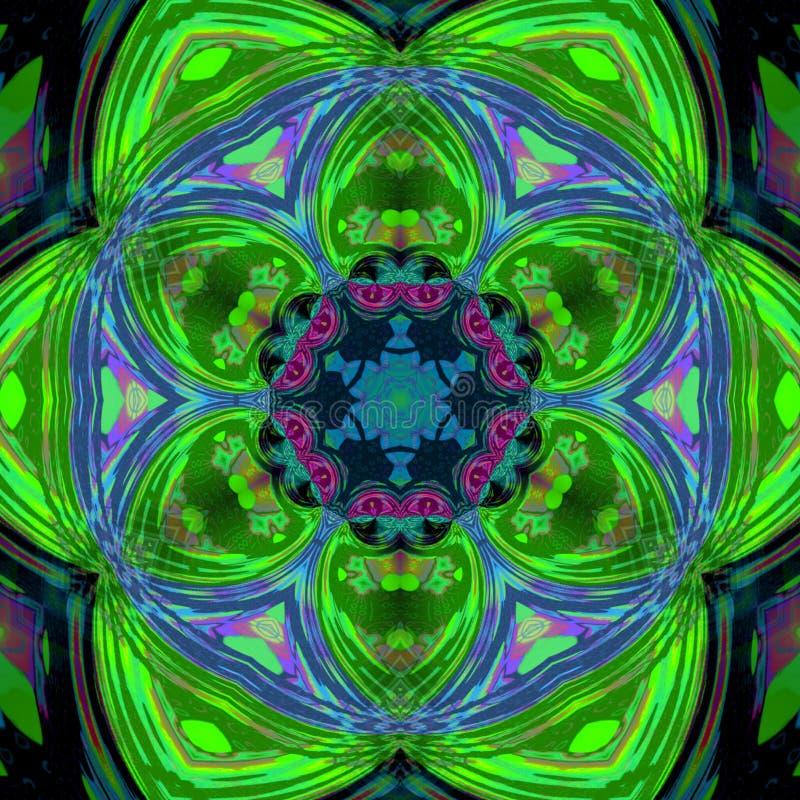 Зеленые предпосылка фрактали снежинки плитки, снежинка весны или цветок иллюстрация вектора