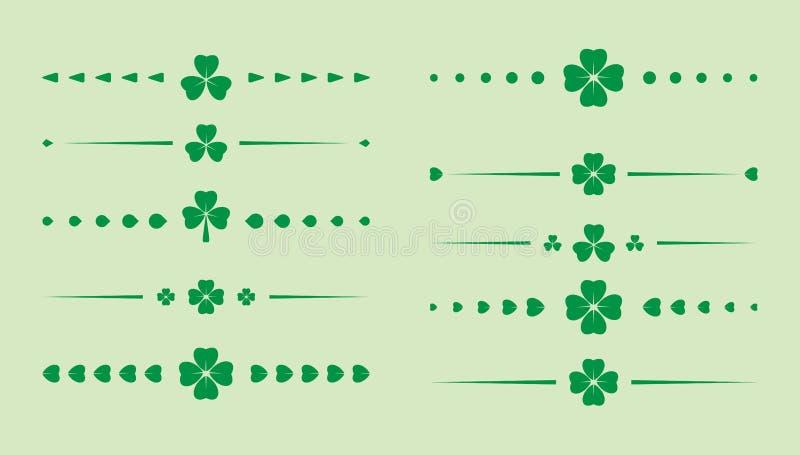 Зеленые рассекатели клевера - вектор установил на день St. Patrick бесплатная иллюстрация