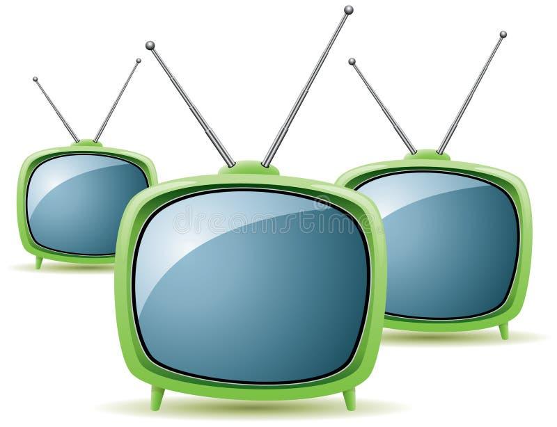 Зеленые ретро телевизоры бесплатная иллюстрация