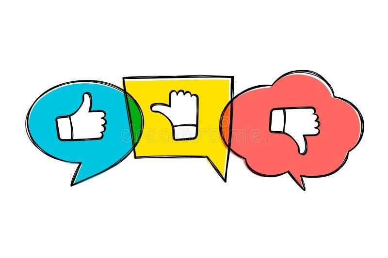 Зеленые руки вычерченные, красные и желтые пузыри речи с большими пальцами руки вверх и вниз бесплатная иллюстрация