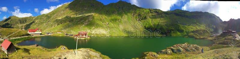 Зеленые солнечные озеро и гора в Fagaras, Transsylvania, Румынии стоковое фото