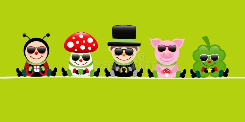 Зеленые солнечные очки свиньи и Cloverleaf стреловидности камина пластинчатого гриба мухы Ladybug знамени иллюстрация штока