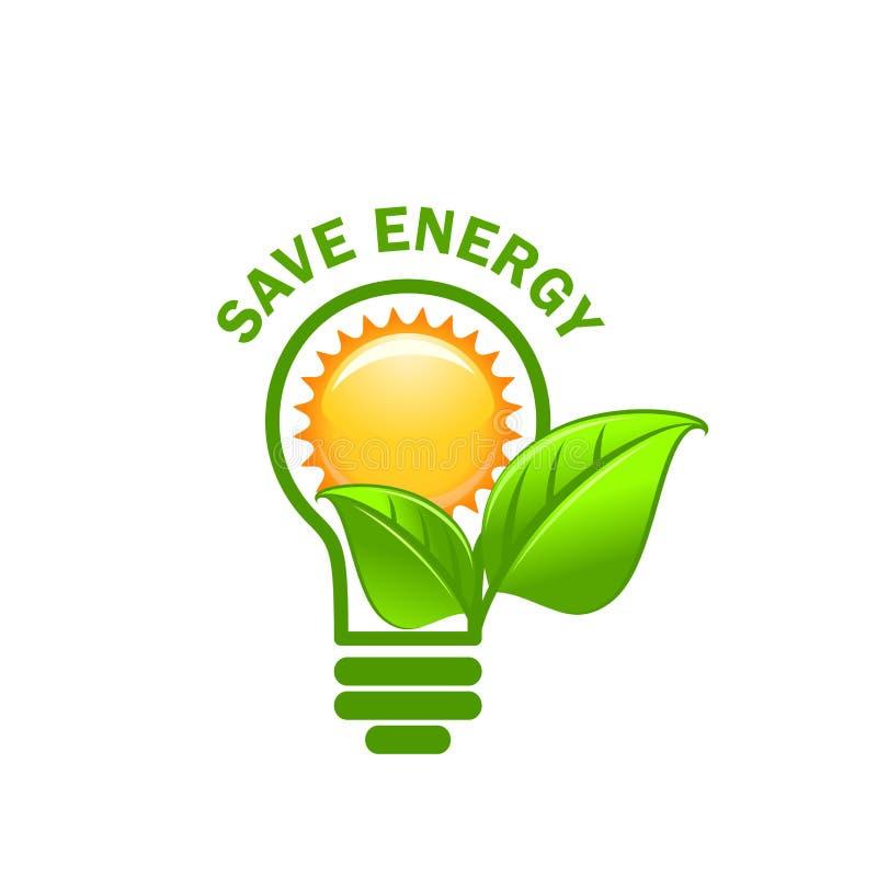 Зеленые спетые лист и значок вектора энергии спасения лампы иллюстрация вектора