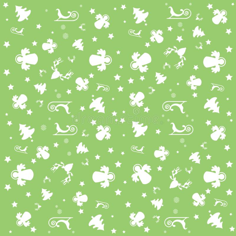 Зеленые с Рождеством Христовым обои с ангелами, звездами и картиной рождества: белые деревья, ангелы, сани и звезды иллюстрация штока
