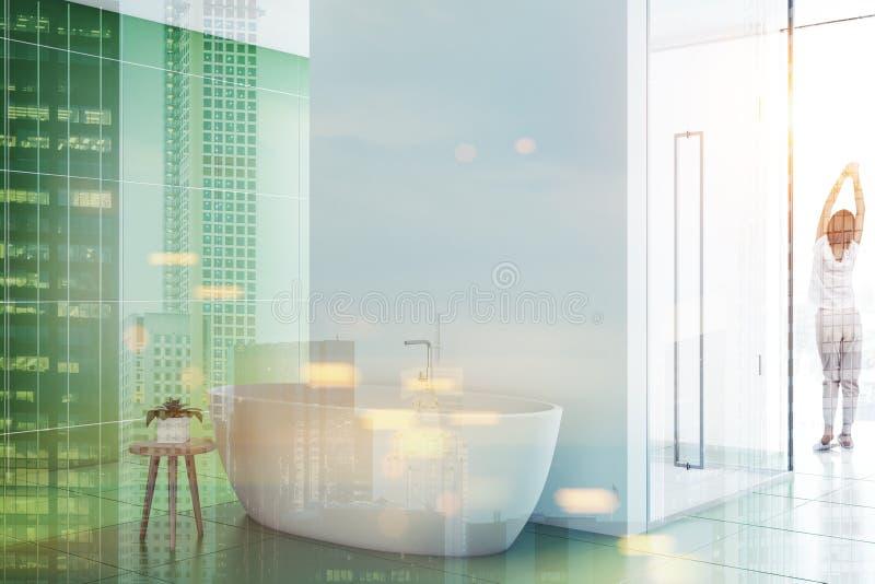 Зеленые тонизированное inteiror, ушат и ливень ванной комнаты иллюстрация штока