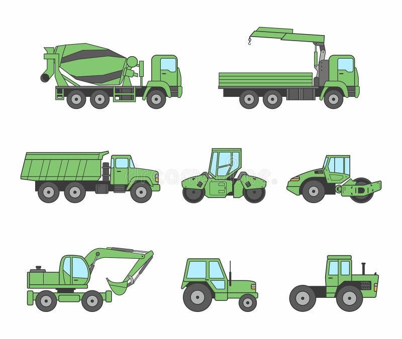 Зеленые установленные значки машин конструкции бесплатная иллюстрация