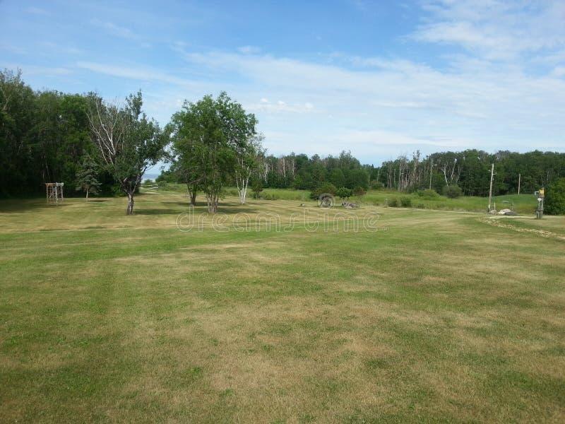 Зеленые цвета поля для гольфа Манитобы весной стоковые фото