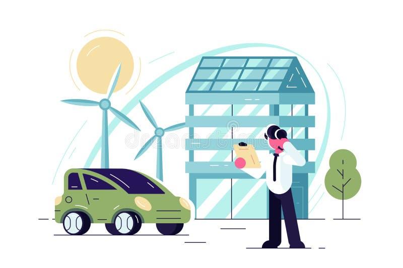 Зеленые энергетические технологии иллюстрация вектора