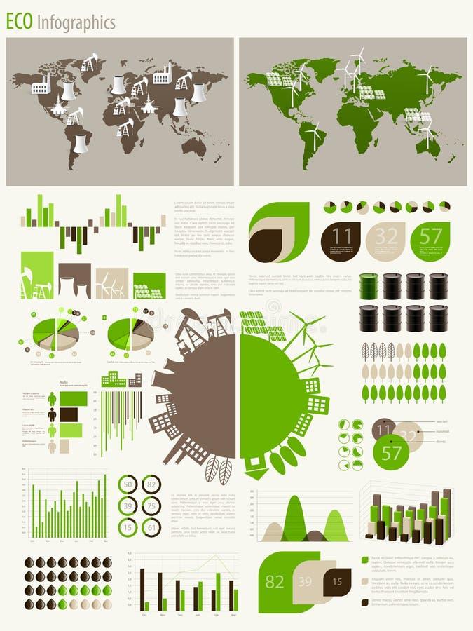 Зеленые энергия и экологичность Infographic иллюстрация вектора