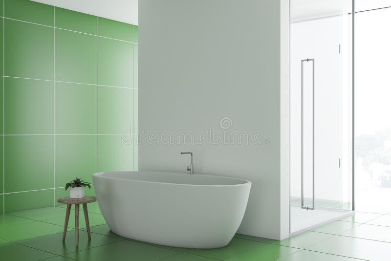 Зеленые inteiror, ушат и ливень ванной комнаты иллюстрация вектора
