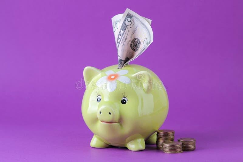 Зеленые moneybox и деньги свиньи на яркой предпосылке сирени Финансы, сбережения, деньги   стоковая фотография