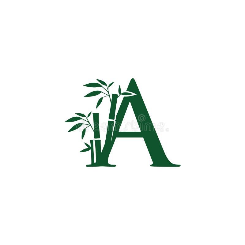 Зеленый бамбуковый логотип письма a иллюстрация вектора