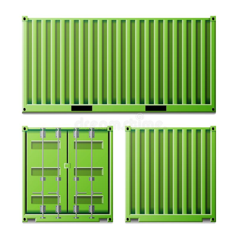 Зеленый вектор грузового контейнера Концепция контейнера для перевозок перевозки Снабжение, насмешка транспорта вверх задний фрон бесплатная иллюстрация
